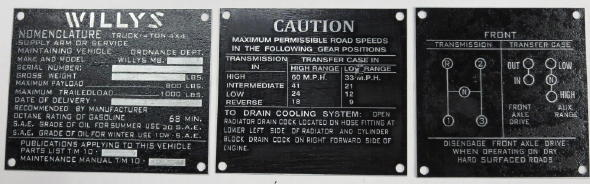Fits jeep willys MB Ford GPW M38 M38A1 Split Combat Wheel Warning Data Plate